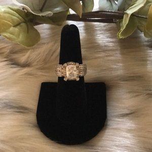 VERRAGIO DIAMONIQUE STERLING TWO-TONE CUSHION RING